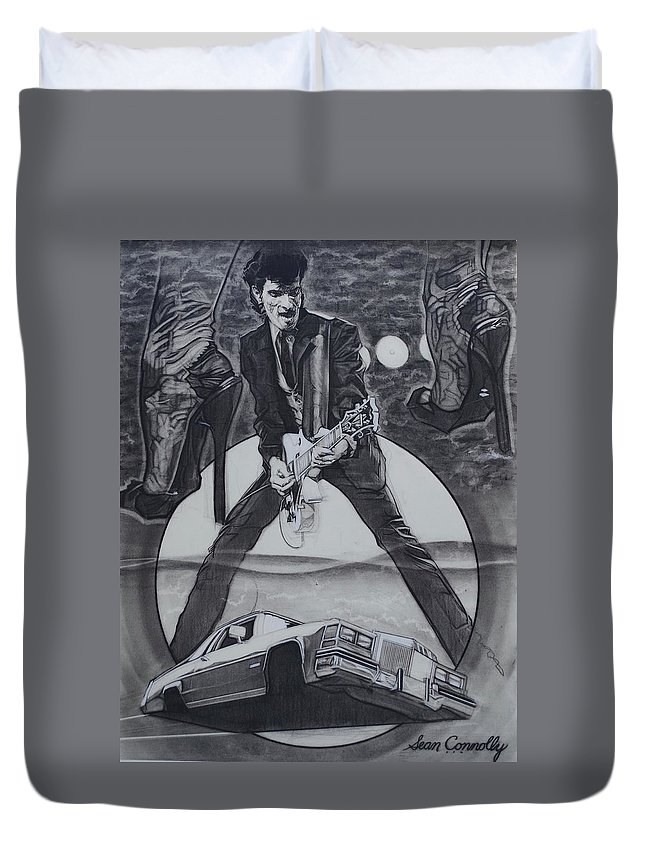 Charcoal Pencil Duvet Cover featuring the drawing Mink DeVille by Sean Connolly
