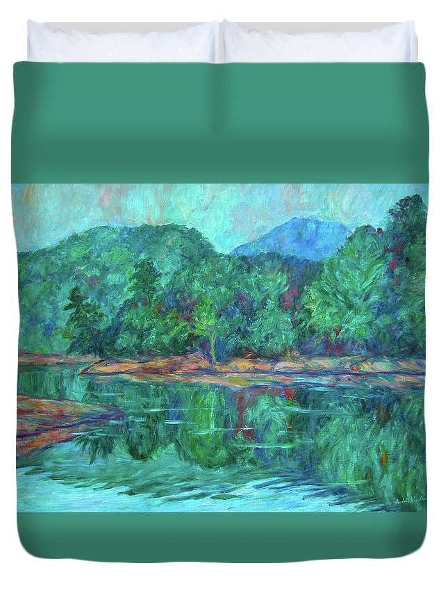 Landscape Duvet Cover featuring the painting Misty Morning at Carvins Cove by Kendall Kessler