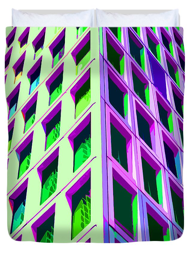 Office Duvet Cover featuring the digital art Modern Building Abstract 3 by Edward Fielding