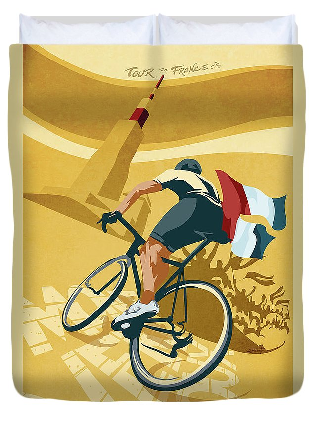 Retro Poster Art Duvet Cover featuring the painting Mont Ventoux by Sassan Filsoof