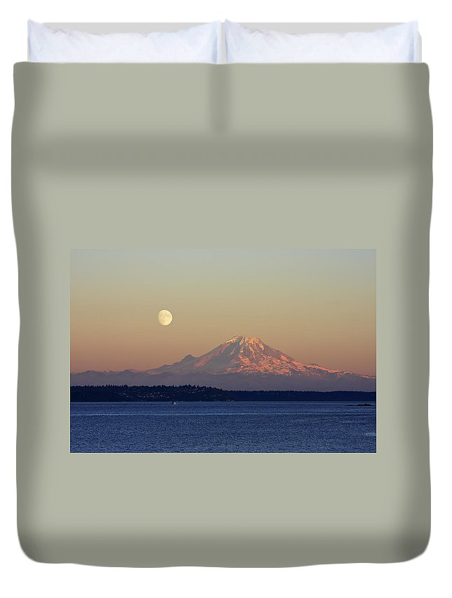 3scape Duvet Cover featuring the photograph Moon Over Rainier by Adam Romanowicz
