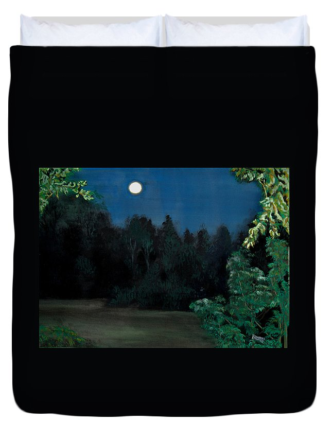 Moon Duvet Cover featuring the painting Moon Shadow by Susan Moore