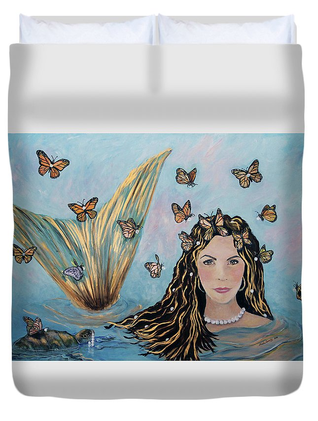 Mermaid Duvet Cover featuring the painting More Precious Than Gold by Linda Queally
