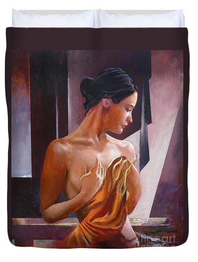 Female Figure Duvet Cover featuring the painting Morning Beauty by Sinisa Saratlic