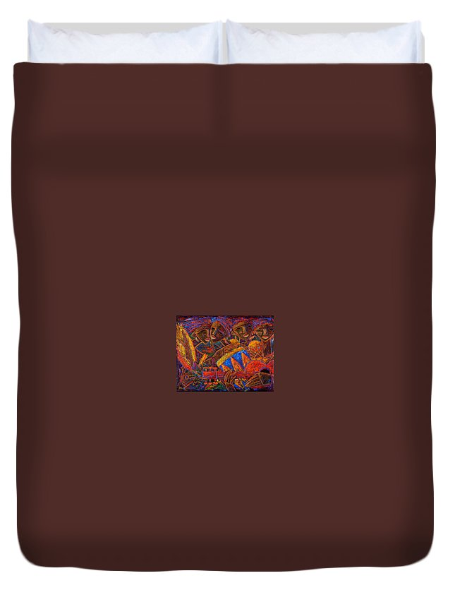 Puerto Rico Duvet Cover featuring the painting Musas Del Caribe by Oscar Ortiz