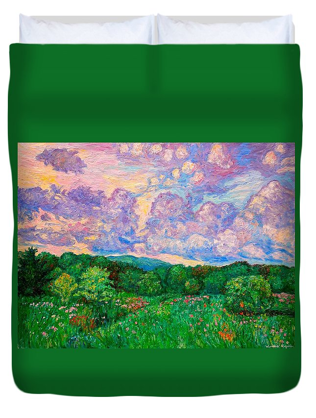 Landscape Duvet Cover featuring the painting Mushroom Clouds by Kendall Kessler
