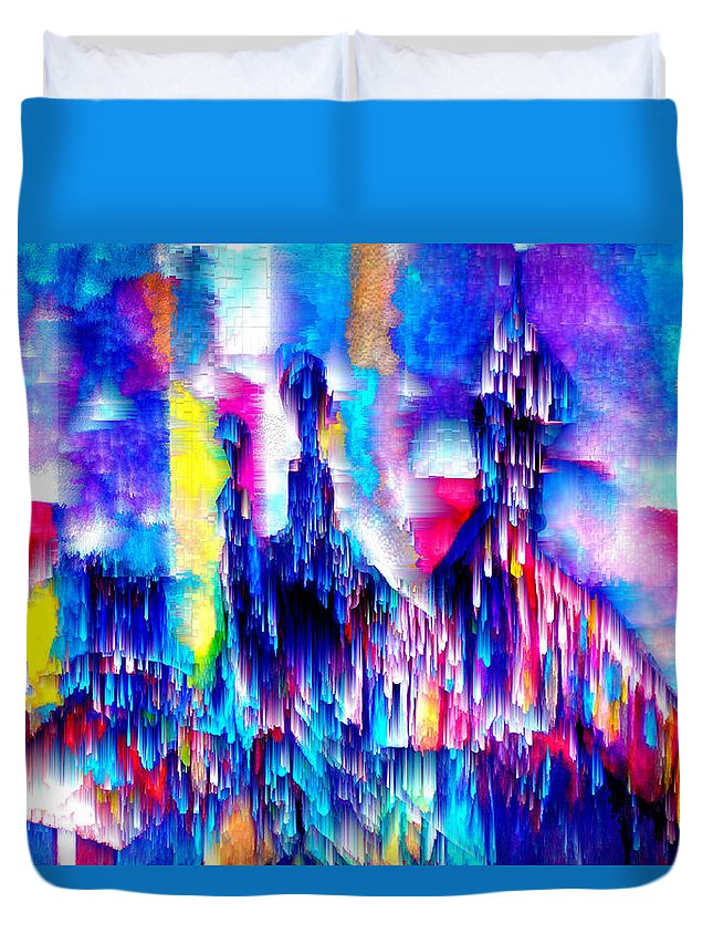 City Lights Duvet Cover featuring the mixed media Music of the City by Seth Weaver