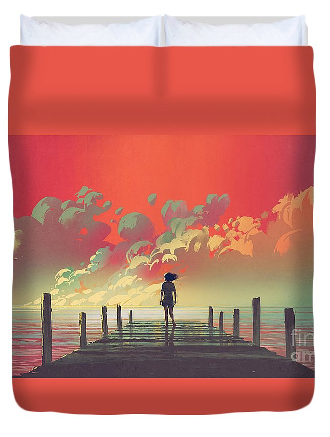 Illustration Duvet Cover featuring the painting My Dream Place by Tithi Luadthong
