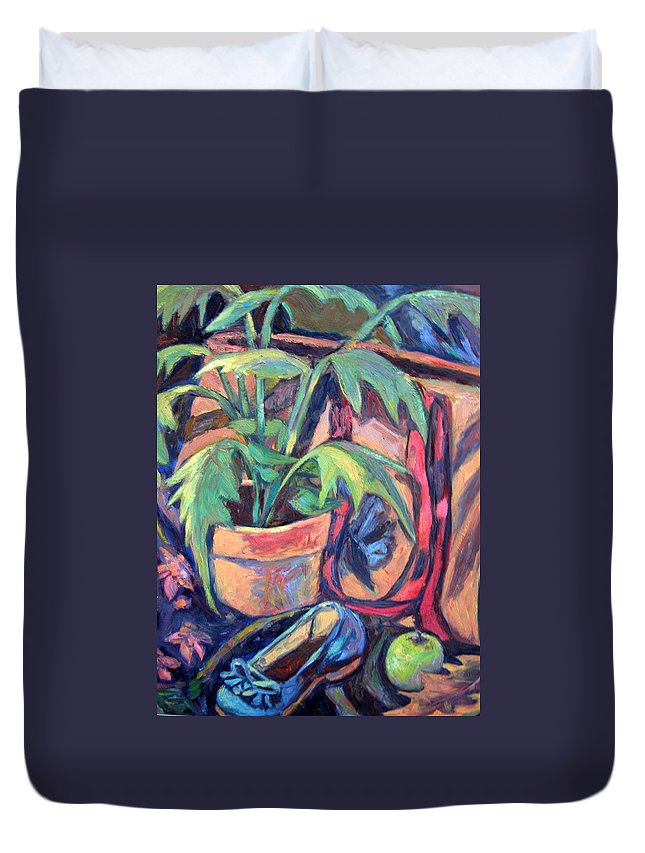 Plant Duvet Cover featuring the painting My Old Shoe by Kendall Kessler