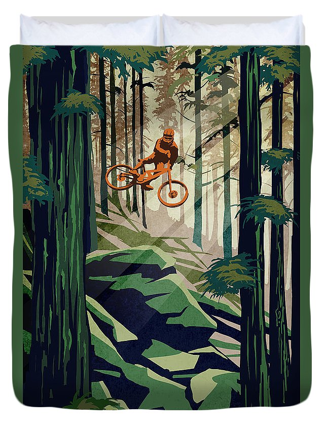 Cycling Art Duvet Cover featuring the painting my therapy Revelstoke by Sassan Filsoof