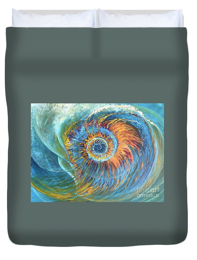 Spiral Duvet Cover featuring the painting Nautilus by Kristine Izak