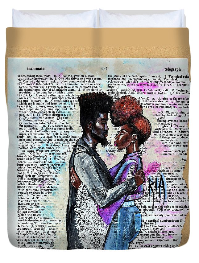 Duvet Cover featuring the painting Never forget - We are on the same team by Artist RiA