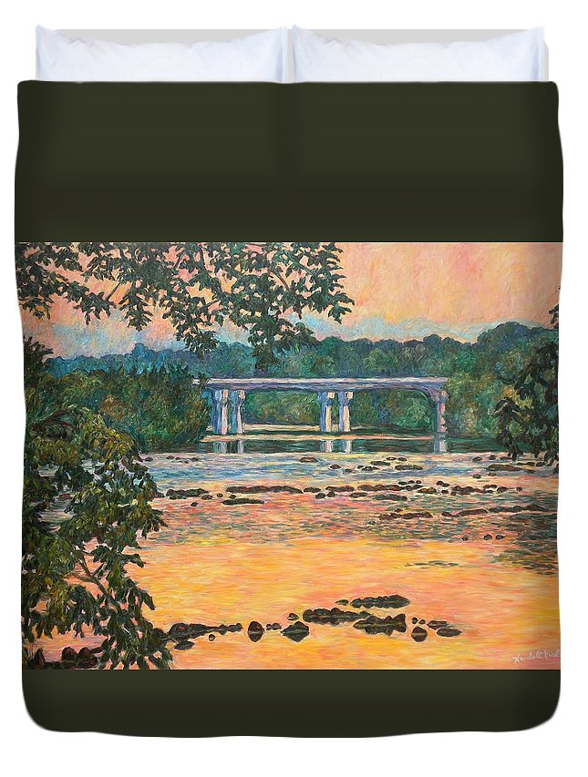Landscape Duvet Cover featuring the painting New Memorial Bridge at Dusk by Kendall Kessler