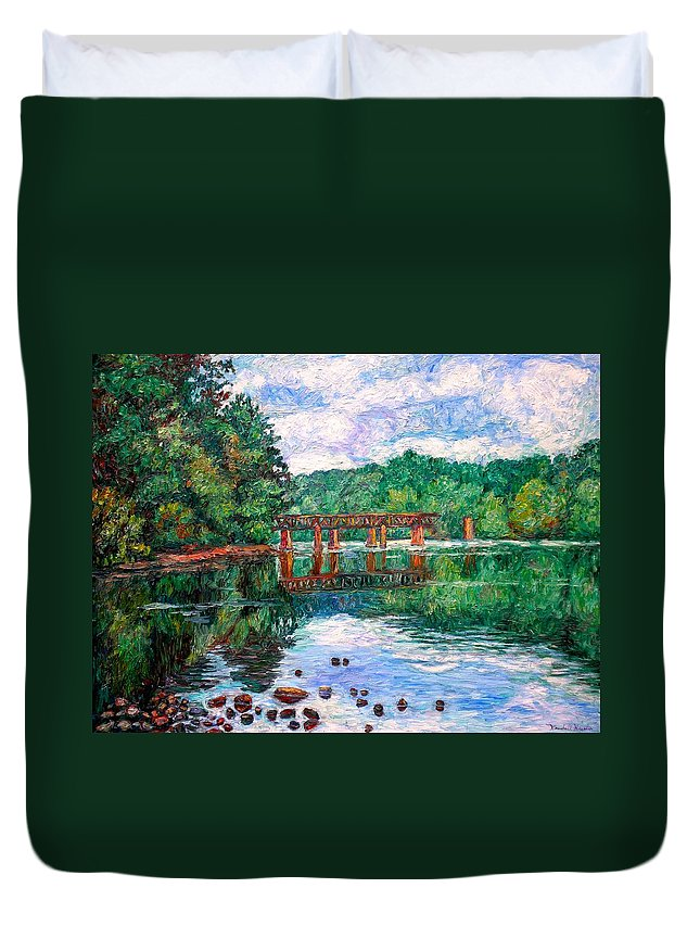 Landscape Duvet Cover featuring the painting New River Trestle by Kendall Kessler