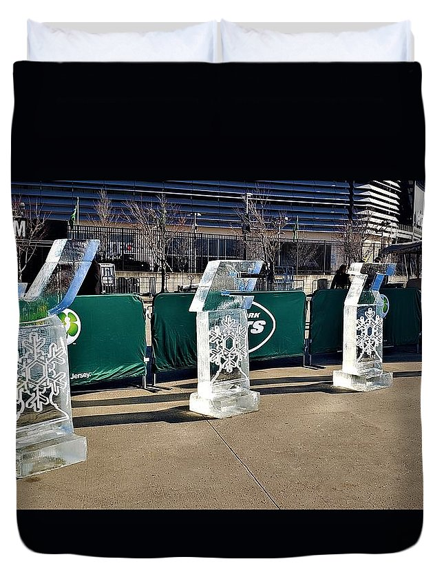New York Jets Duvet Cover featuring the photograph New York Jets On Ice by Rob Hans