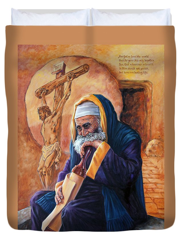 Christ Duvet Cover featuring the painting Nicodemus by John Lautermilch