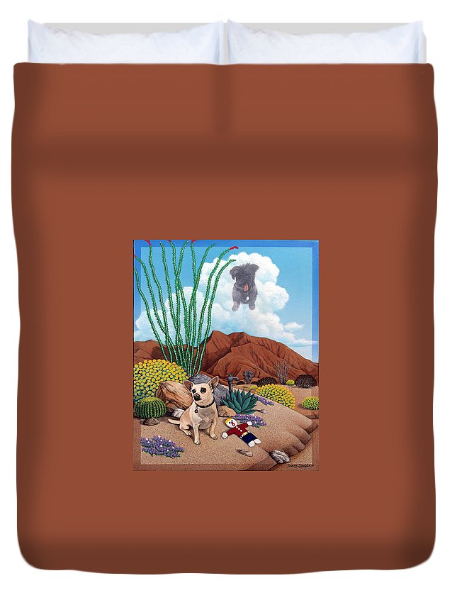 Pet Duvet Cover featuring the painting Noel,Harley,and Mr.Bill by Snake Jagger