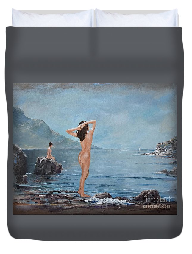 Female Figures Duvet Cover featuring the painting Nymphs by Sinisa Saratlic