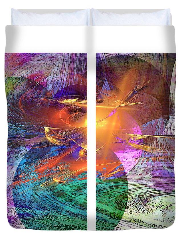 Ocean Fire Duvet Cover featuring the digital art Ocean Fire by John Robert Beck