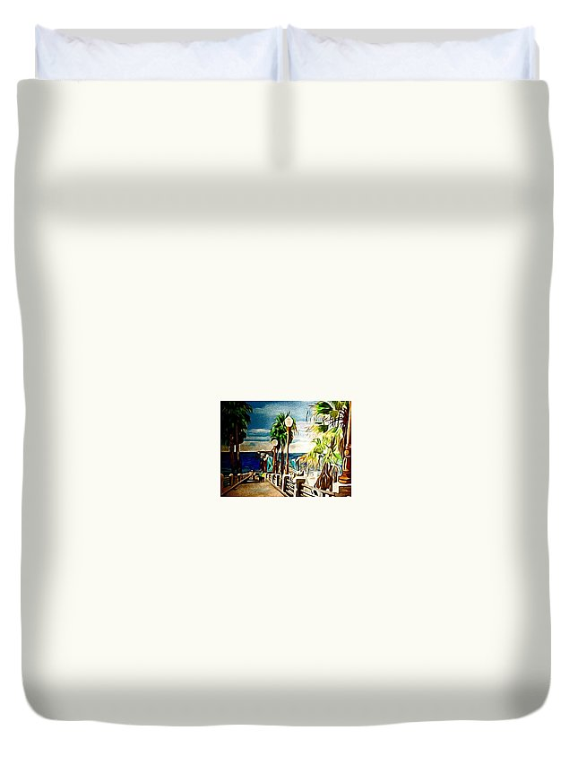 Landscape Duvet Cover featuring the painting Oceanside Peir by Andrew Johnson