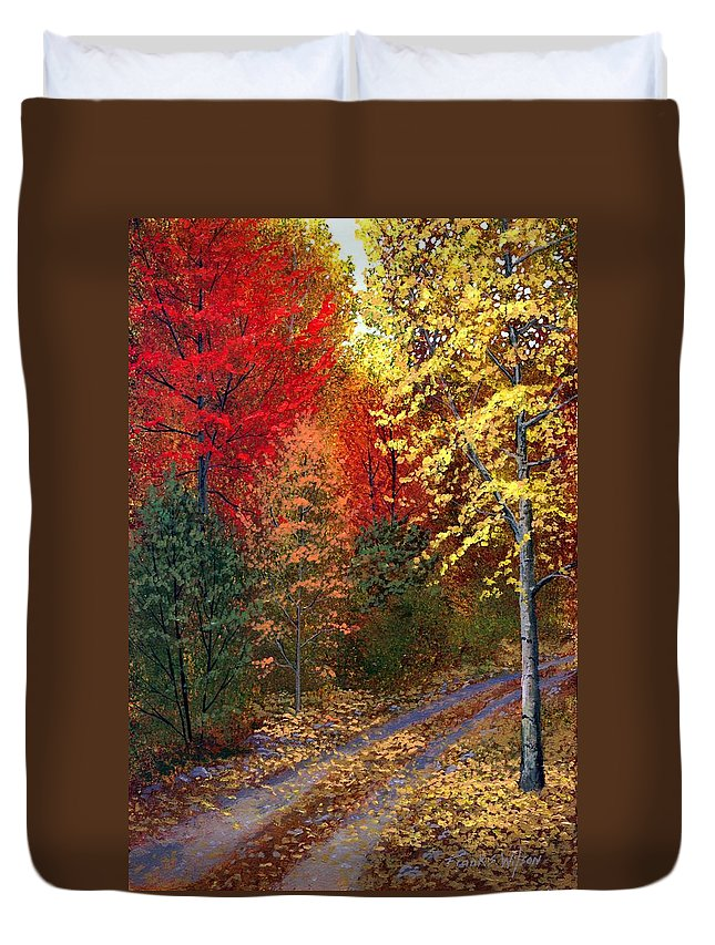Landscape Duvet Cover featuring the painting October Road by Frank Wilson