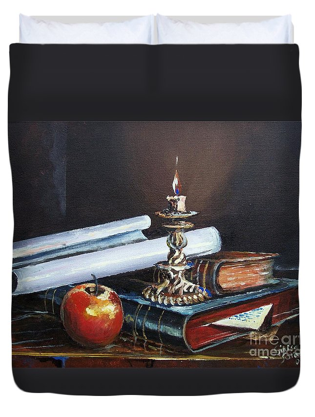 Original Painting Duvet Cover featuring the painting Old Books by Sinisa Saratlic