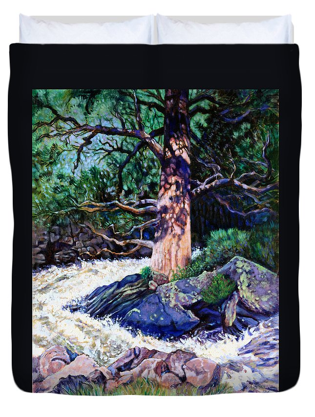 Old Pine Duvet Cover featuring the painting Old Pine In Rushing Stream by John Lautermilch