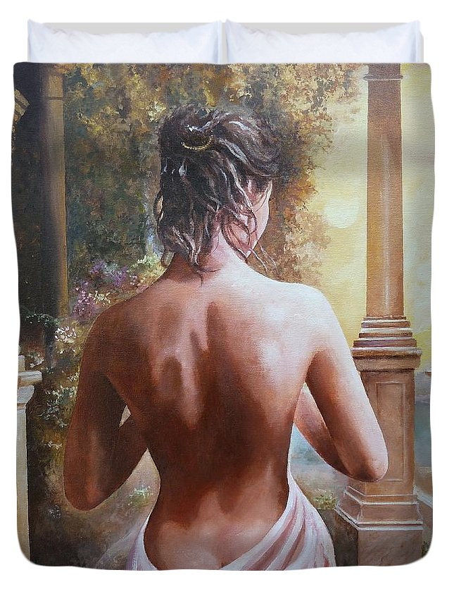 Female Figure Duvet Cover featuring the painting On The Doorway by Sinisa Saratlic