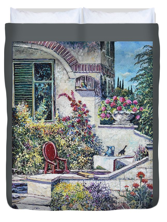 Original Painting Duvet Cover featuring the painting On The Porch by Sinisa Saratlic