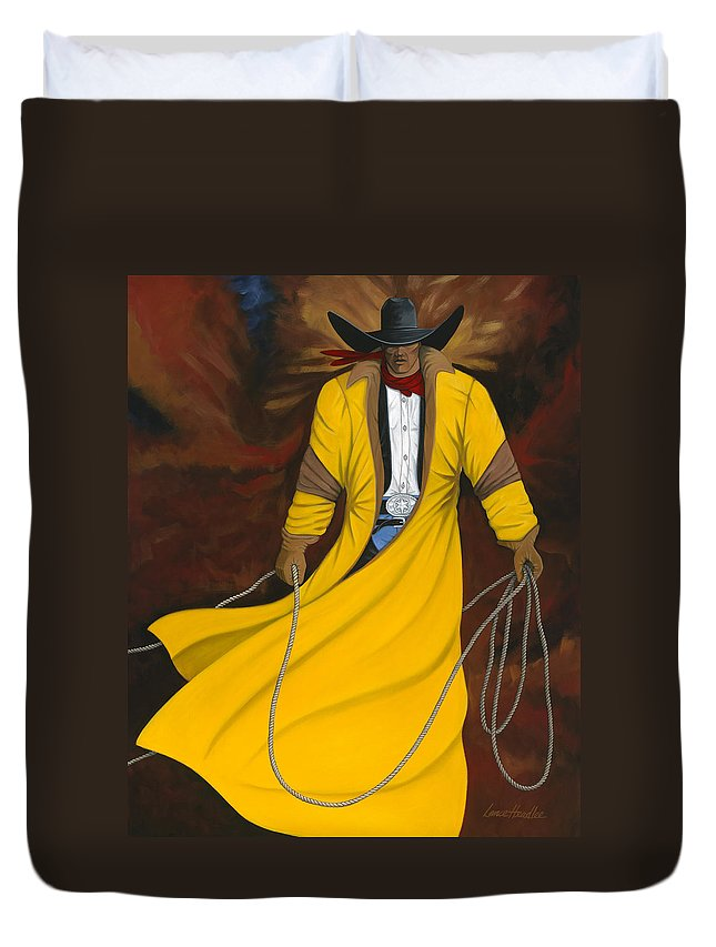 Arizona Western Art Duvet Cover featuring the painting One Cowboy by Lance Headlee