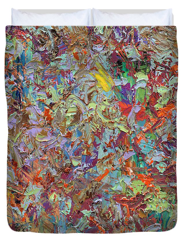 Abstract Duvet Cover featuring the painting Paint number 33 by James W Johnson