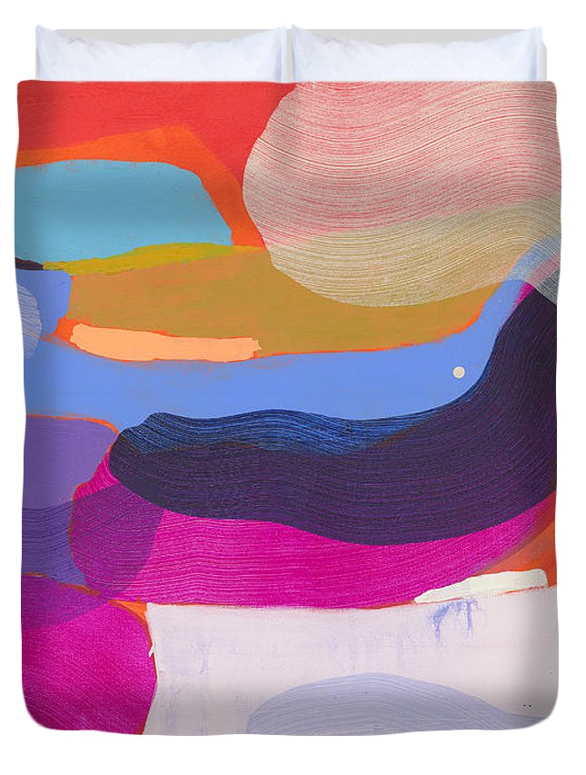 Abstract Duvet Cover featuring the painting Party Boat by Claire Desjardins