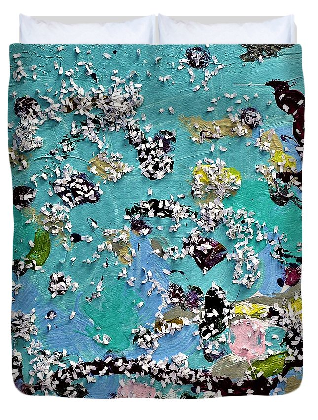 Blue Duvet Cover featuring the painting Party Time by Pam Roth O'Mara