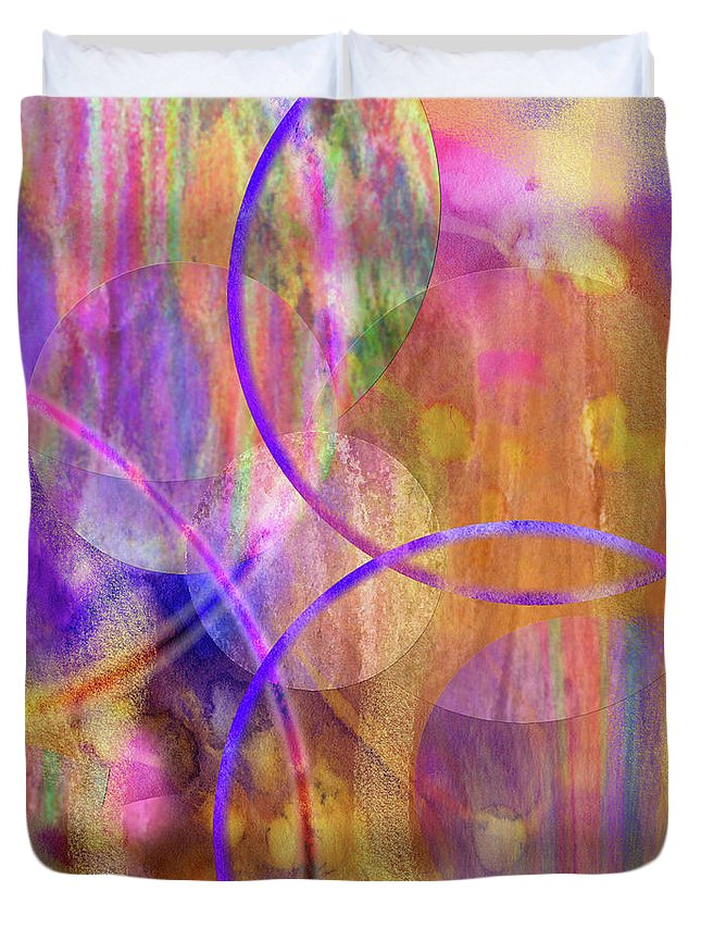 Pastel Planets Duvet Cover featuring the digital art Pastel Planets by John Robert Beck