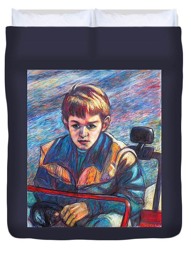 Impressionism Duvet Cover featuring the painting Paul in Alans Jeep by Kendall Kessler
