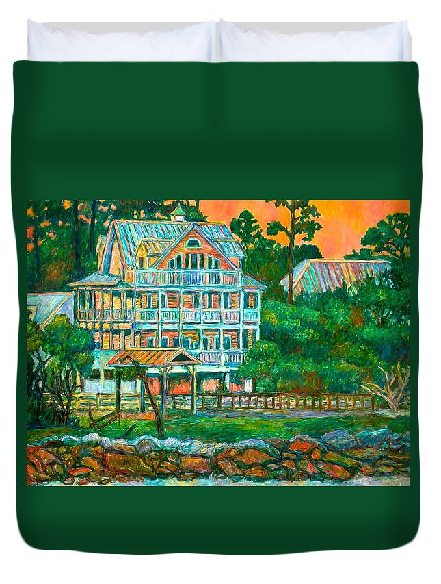 Landscape Duvet Cover featuring the painting Pawleys Island Evening by Kendall Kessler