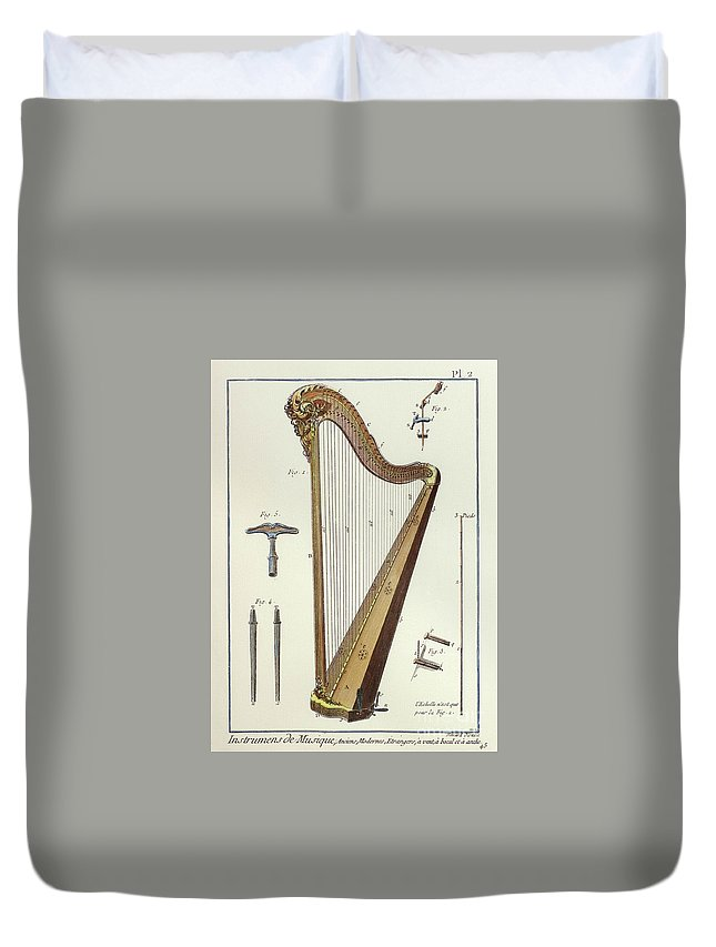 Performing Arts Duvet Cover featuring the drawing Pedal Harp by European School