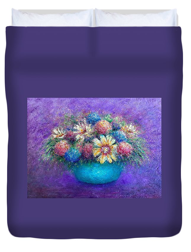 Floral. Still-life Duvet Cover featuring the painting Pentimento Too by Shannon Grissom