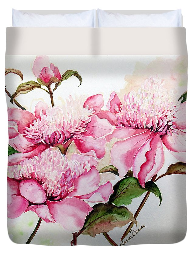 Flower Painting Flora Painting Pink Peonies Painting Botanical Painting Flower Painting Pink Painting Greeting Card Painting Pink Peonies Duvet Cover featuring the painting Peonies by Karin Dawn Kelshall- Best