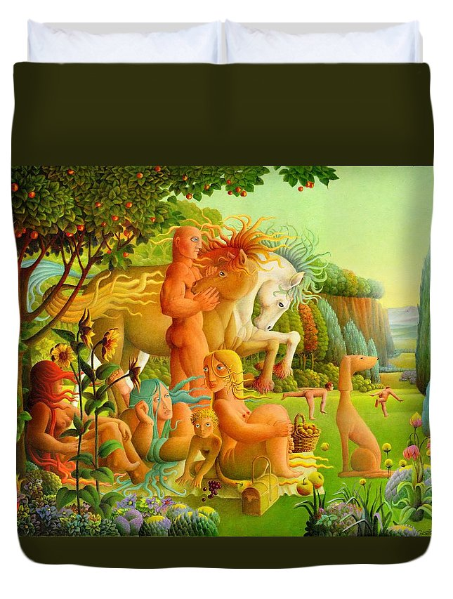 2004 Duvet Cover featuring the painting Picnic by Giuseppe Mariotti