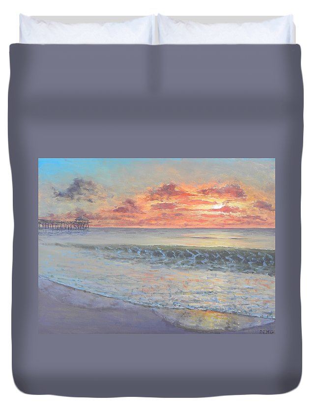 Pier Duvet Cover featuring the painting Pier Sunrise by Paul Emig