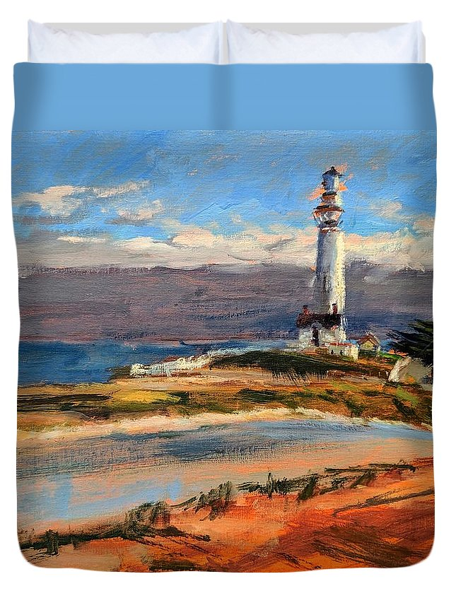 California Duvet Cover featuring the painting Pigeon Point Lighthouse by Peter Salwen
