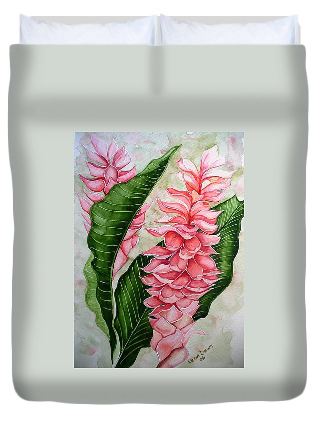 Flower Painting Floral Painting Botanical Painting Ginger Lily Painting Original Watercolor Painting Caribbean Painting Tropical Painting Duvet Cover featuring the painting Pink Ginger Lilies by Karin Dawn Kelshall- Best