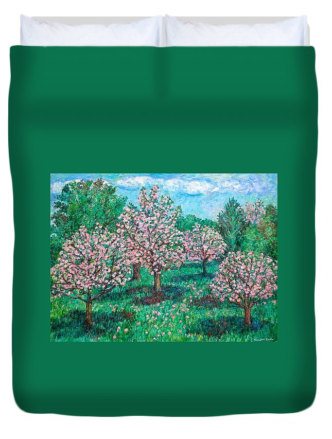 Landscape Duvet Cover featuring the painting Pink Wave by Kendall Kessler