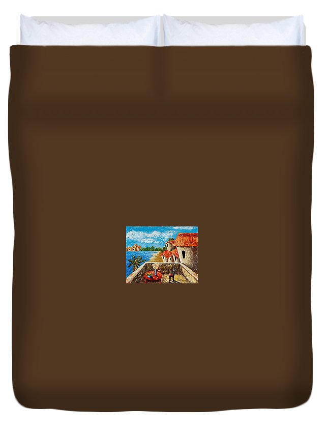 Landscape Duvet Cover featuring the painting Playa Gorda by Oscar Ortiz