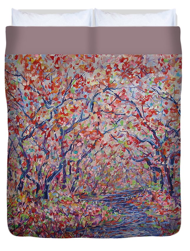 Landscape Duvet Cover featuring the painting Poetic Forest. by Leonard Holland
