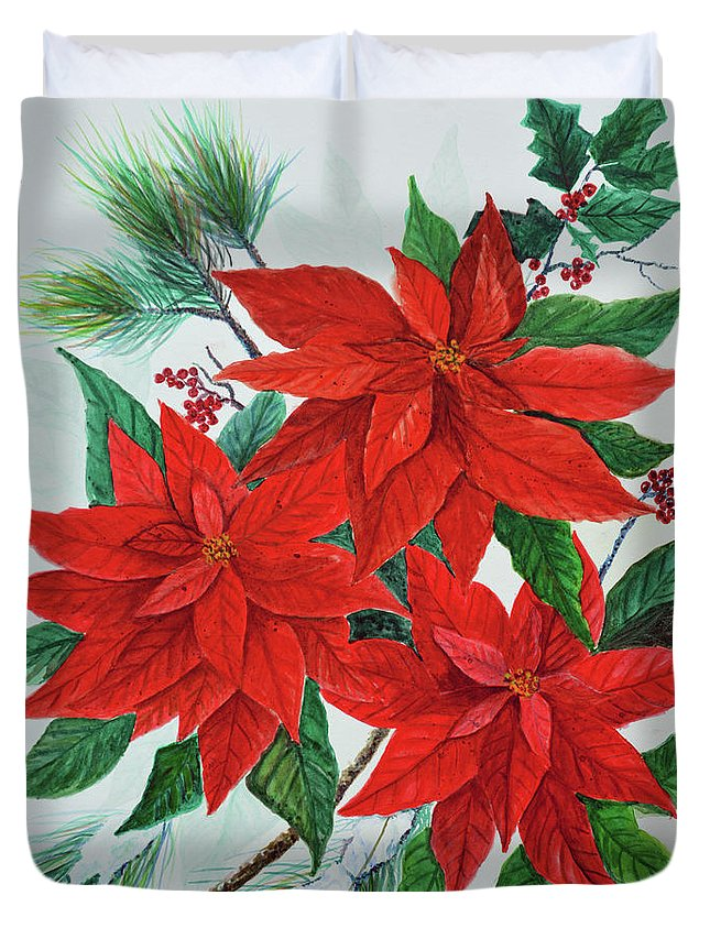 Poinsettias Duvet Cover featuring the painting Poinsettias by Ben Kiger