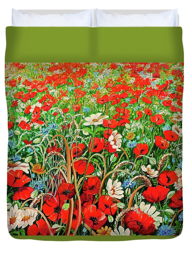 Floral Painting Flower Painting Red Poppies Painting Daisy Painting Field Poppies Painting Field Poppies Floral Flowers Wild Botanical Painting Red Painting Greeting Card Painting Duvet Cover featuring the painting Poppies In The Wild by Karin Dawn Kelshall- Best