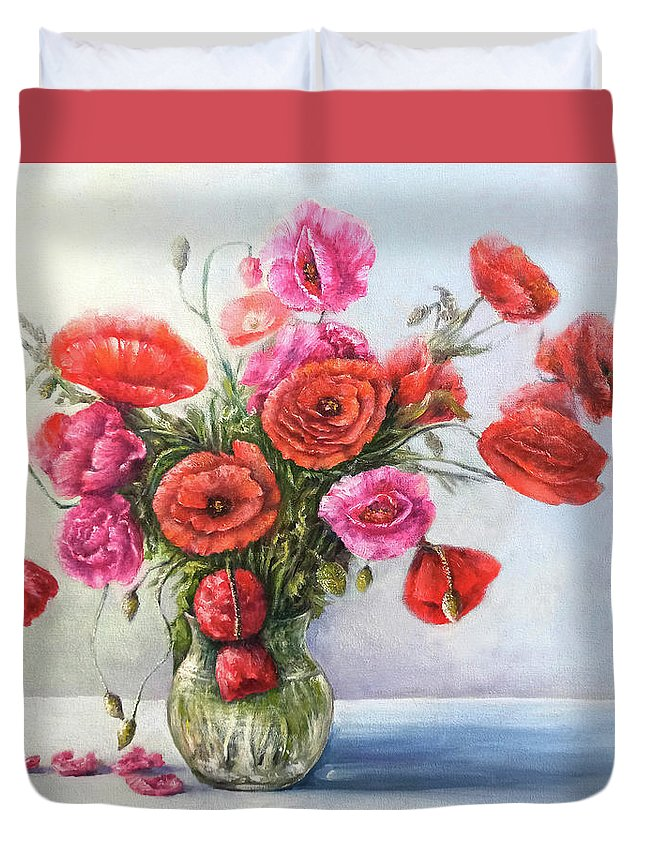 Poppy Duvet Cover featuring the painting Poppy flowers by Natalja Picugina