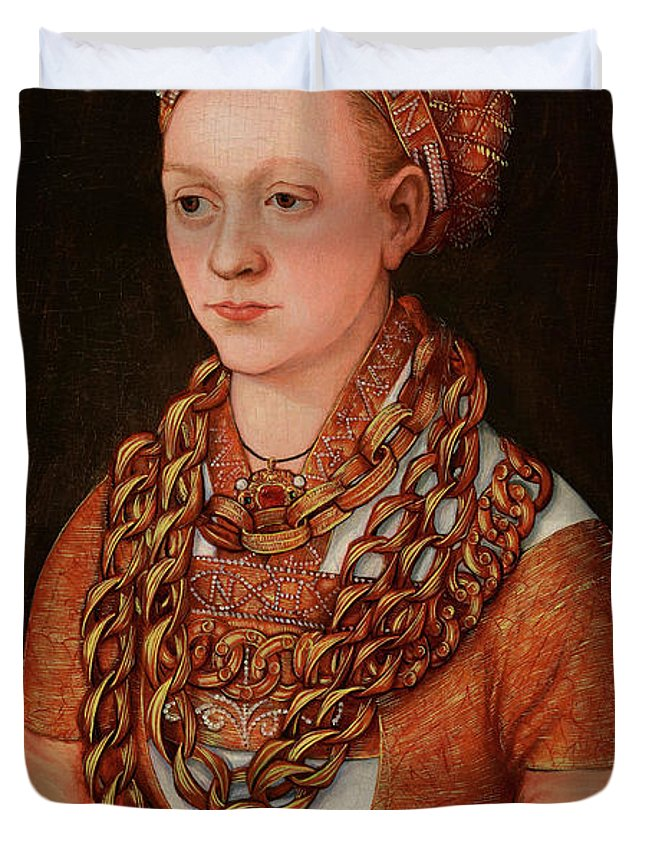 Lucas Cranach The Elder Duvet Cover featuring the painting Portrait Of Anna Buchner, Nee Lindacker, 1520 by Lucas Cranach the Elder
